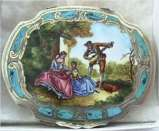 Italian Sterling Vermeil with Enameled Troubadour Serenading Ladies