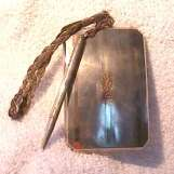 Sterling Silver and 14 Kt. Gold Vanity Purse by FB Co. Complete with Pencil