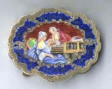 Italy Sterling Vermeil Figural Compact Lady and Gentleman at Piano with Matching Comb