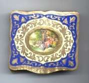 Sterling Vermeil Compact from Italy with Portrait on Ivory