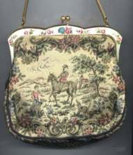 Figural Tapestry Purse with Horse, People and Dogs by La Marquise with Enameled Frame