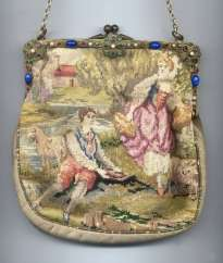 Petitpoint Purse with Figural Pastoral Scene and Spectacular Jeweled Frame