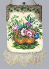Spectacular MINT Condition Beaded Purse with Basket of Flowers in Jeweled Enameled Frame