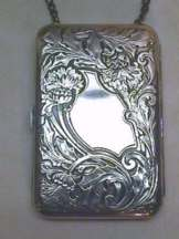 Sterling Silver Thistle Design Vanity Case