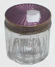 Enamel Guilloche and Crystal Dresser Jar