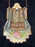 "Super Rare Style Whiting and Davis Mesh ""Saddlebag"" Shape Purse with Jeweled Frame and Stepped Fringe"