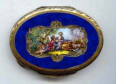 Gorgeous Rich Cobalt Enameled Italian Sterling Vermeil with Romantic Couple and Sheep