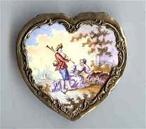 Italy Sterling Vermeil Figural Heart-Shaped Compact