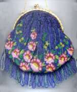 Beautiful Royal Blue Large Puffy Purse with Pink Flower Bottom