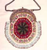 1800's Piecrust Beaded Purse with Winged Mythical Figure Frame