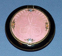 Pink and Black Enamel Guilloche Compact