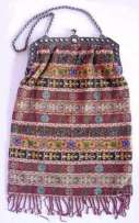 Lovely Carpet Design Micro-Beaded Purse with German Silver Frame