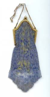 RAREST Whiting and Davis BLUE Mesh Purse with Venetian Lace Fringe