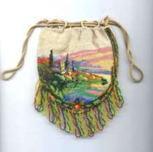 Tiny Child's Scenic Castle Beaded Reticule