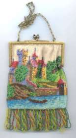 Venetian Beaded Canal Scene with Castle and Boat
