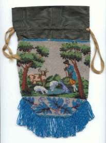 Shepherd with Sheep and Cow Beaded Reticule by Eliza Caldwall, Circa 1832
