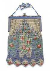 Extremely RARE Whiting and Davis Beadlite Mesh Purse w/ Double Lapis Jeweled Frame!