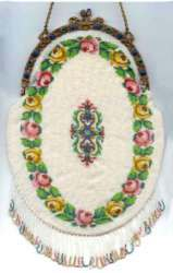 Spectacular Micro-Beaded Oval Floral Garland Purse with Arched Jeweled Frame