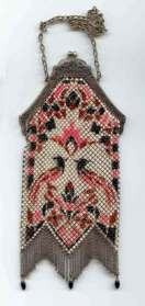 Figural Mandalian Mesh Purse with Birds of Paradise and Rare Double Fringe