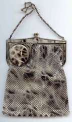 "RARE! The ""Cadillac"" of Vanity Bags: a Whiting and Davis Compact Frame in Stunning Snakeskin Design"
