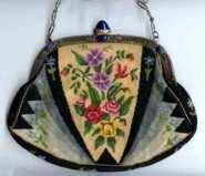 Micro-Petitpoint Purse with Lapis Jeweled Frame