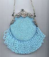 Mid-1800's Baby-Blue Beaded Piecrust Purse with Figural Lady's Head in Silver Frame