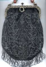 Micro-Beaded Black Purse w/Silver Designs and Figural Filigree Frame - 2 Jewel Beads in Handle