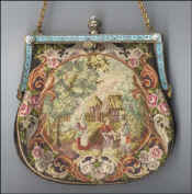 Scenic Petitpoint Purse with Jeweled and Enameled Frame