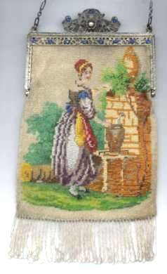 Figural Lady at Fountain Beaded Purse with Trinity Plate Jeweled Frame