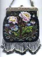 Black Beaded Floral with Ornate Lattice Fringe and Embossed Frame