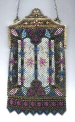 "Mandalian ""Stained Glass Window"" Design Mesh Purse with Jeweled and Enameled Frame"