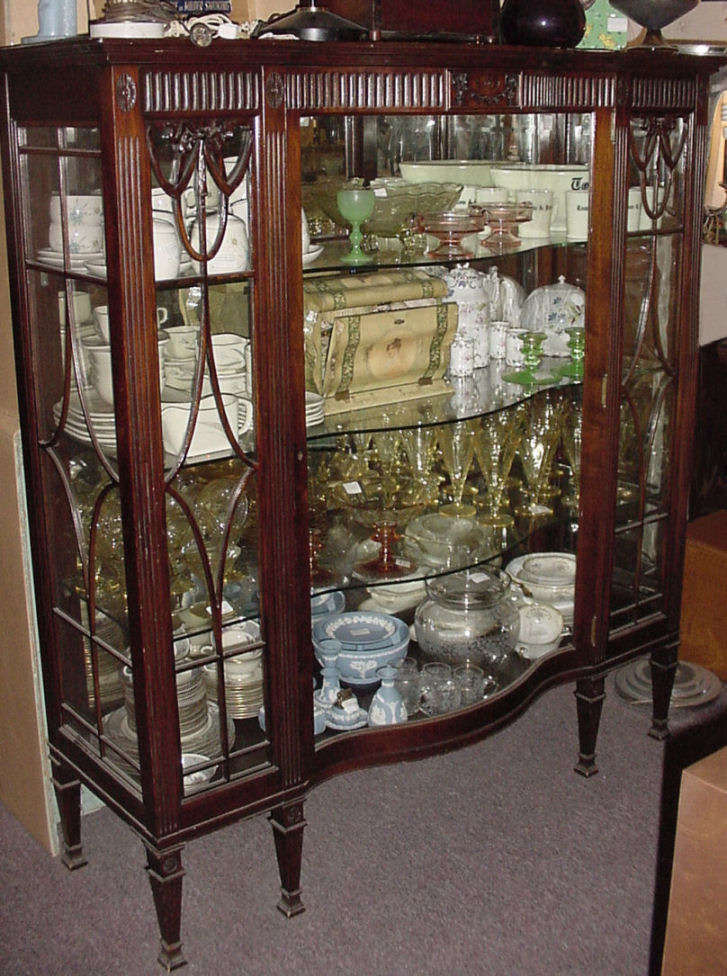 Mahogany China Cabinet - Antique Oak & Walnut Furniture - Antique Glass Door Cabinet Antique Furniture